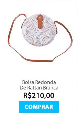 Bolsa Redonda De Rattan Branca